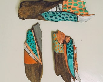 3 set spirit sticks \\\ hand painted driftwood pieces /// bohemian art decor