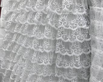 Chic Layers Lace Ruffle Fabric in Off white for Wedding Gown, Tutu Dress, Prom Dress