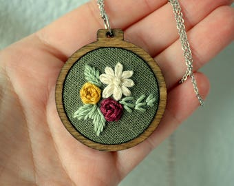 READY TO SHIP: Wildflower Embroidery Necklace, Hoop Art Jewelry, Hand Stitched Art, Sterling Silver, Floral Pendant, Gift for Her, Earthy