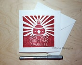 Red Christmas Bauble Lino Print Cards - Christmas Card Pack (5) White Square Cards