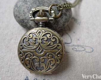 Pocket Watch Fancy Flower Antique Bronze  Round Gift Watch 31x38mm Set of 1 A6883