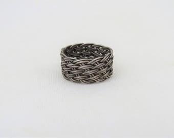 Vintage Sterling Silver Basket Weave Band Ring Size 5.5