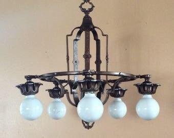 Antique Art Deco 5 Light Chandelier Polychrome 1920s