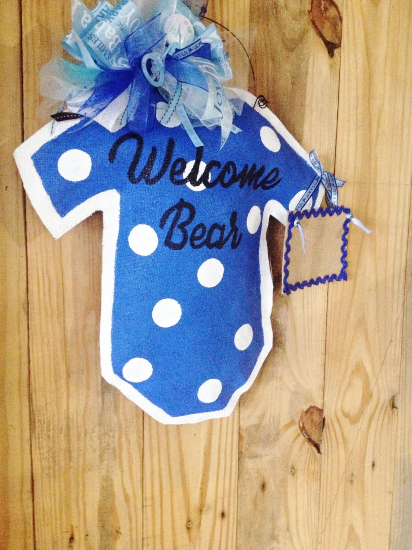 Baby boy burlap door hanger hospital door by for Baby boy hospital door decoration