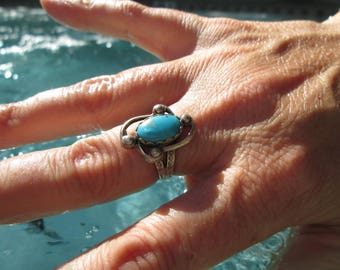 Native American Turquoise and Sterling Silver Stamped Ring Size 7