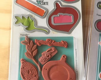 Hero Arts and Sizzix Stamps and Die Set. 5 Stamps and 5 Metal Dies. Craft Supplies. Card Making and Scrap Book Tools