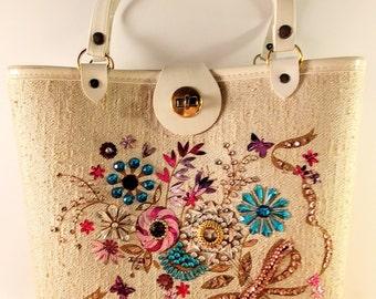 Mid Century Enid Collins Style Purse. Beige Twill with Wooden Bottom & Multicolored Rhinestone/Sequin Flowers. 1960's Fashion Handbag.