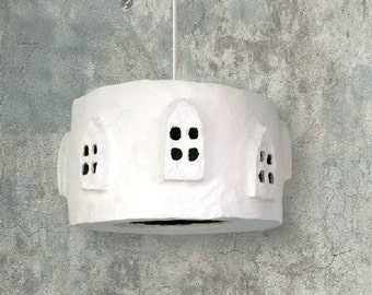 Paper Pulp Lamp shade City Lights | Large White | Pendant light | Eco-friendly | Handmade Lamp