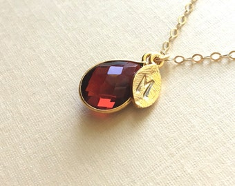 Wine Bridesmaids Necklaces, 14k Gold Filled Necklaces, Burgundy Necklace, bridesmaids necklace sets