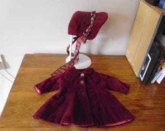 "Vintage 1950's handmade corduroy doll's coat , lined , for doll 16""-18"" .....plus hat"