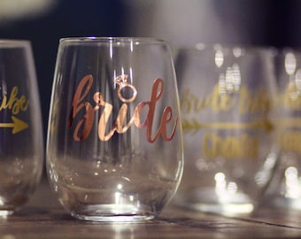 Bride stemless wine glass rose gold