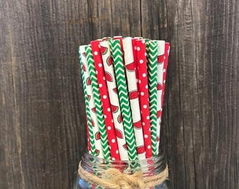 100 Watermelon, Chevron and Polka Dot Paper Drinking Straws, Picnic Supply, Red, White and Green Party Goods, Summer Cookout Paper Goods