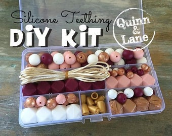 Silicone Teething DIY Kit - Silicone Beads & Supplies - Make Your Own Baby Chew Jewelry Teething Necklace - Plum/Candy/White/RoseGold (SO)