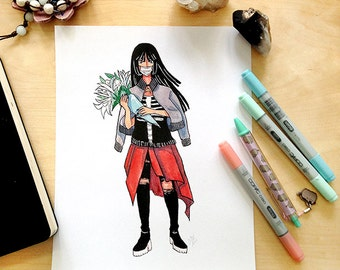 Death Witch Watercolor Illustration Print