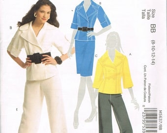 Size 8-14 Misses' Jacket & Pants Sewing Pattern - Wide Collar Double Breats Jacket Sewing Pattern  - Wide Leg Pants Pattern - McCalls M5637