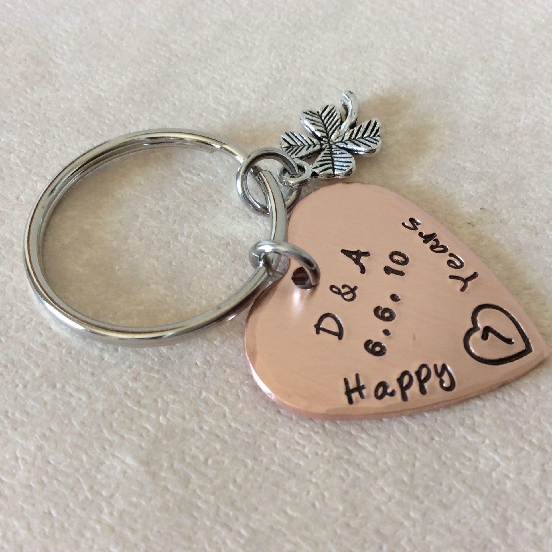 7 year copper Anniversary stamped copper heart keychain boyfriend, girlfriend,husband,wife gifts