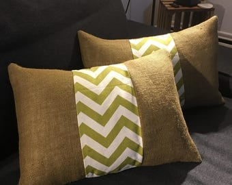 Green zigzag  fabric and burlap pillow cover