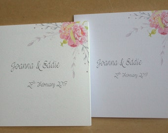 "Sample / Handmade Personalised Paper Wedding Invitation 5"" x 5"""