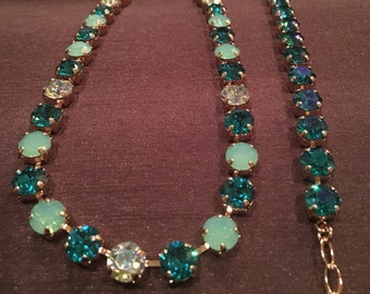 """Swarovski Crystal Necklace (Pacific Opal, Blue Zircon and Light Azore Blue) 8mm Stones - 14-17"""" adjustable ROSE GOLD plated"""