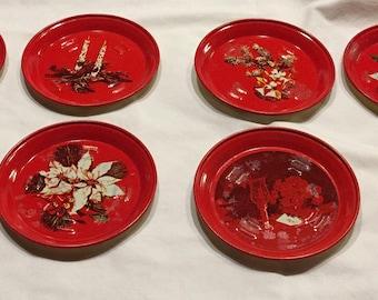 Vintage, Christmas tin ashtrays, set of 8, coasters