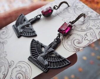 Egyptian Earrings ~ Pink Black Earrings ~ Neo Victorian ~ Fuchsia Pink ~ Isis Goddess ~ Gunmetal Black ~ by LadyofTheLakeJewels