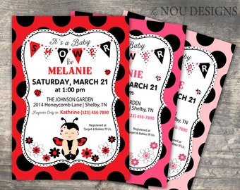 Little Lady Bug Baby Shower Invitation Card- Printable File