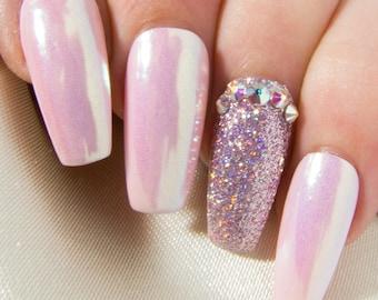 Coffin False Nails with Crystals - Pink Iridescent Unicorn Chrome Nails - Mirror Glue On Nails - Nail Art Press On Nails - Design Fake Nail