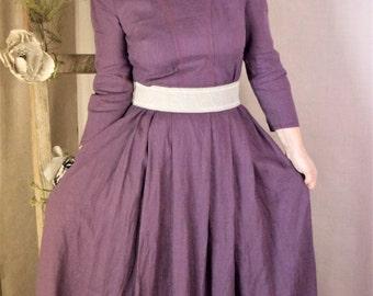 Purple gray linen long dress.
