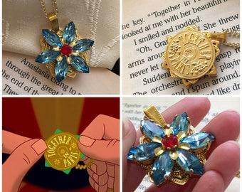 "Anastasia ""Together in Paris"" Necklace with Swarovski Crystal Aquamarine Ruby Replica Handmade Flower Charm 16K GoldCosplay"