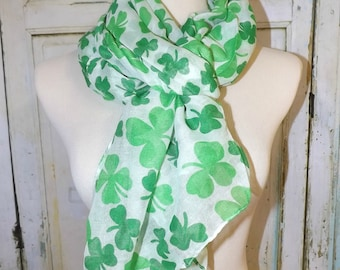 St. Patricks Day Scarf 4 Leaf Clover Green Leprechaun Shamrock Viscose Long Scarves Women's Accessories