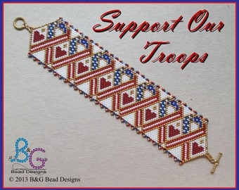 SUPPORT OUR TROOPS Peyote Cuff Bracelet Pattern