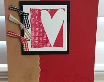 Handmade Love Card, Valentine's Day, Love, Wife, Husband, Girlfriend, Boyfriend, Friend, Thank You, Red, Black, Tan