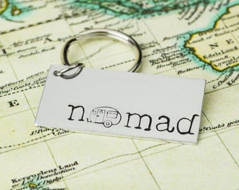 Nomad Keychain • Handstamped Travel Gift • Wanderlust Key Chain