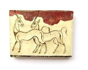 Minoan antelopes fresco  painting from Akrotiri Santorini  , Museum copy for gift for her