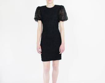 80s puff sleve party dress black crepe midi dress lbd size 6 petite