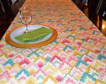 Christmas Table Runner, Table/Bed Linen, Table Cloth, Teal/Pink/Yellow, Wedding/Dining/Reception/Banquet, 16''x72'' Buffet/Dresser Scarf