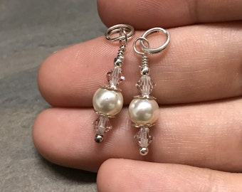 Sterling silver handmade pendant, fine 925 silver charm with pearl and crystal detail, price for 2