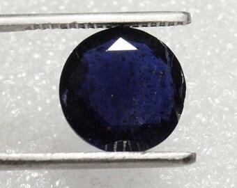 Blue Iolite Gemstone Round Shape Faceted Stone Size 11.5x11.5x5 mm