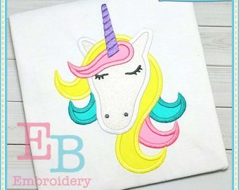 Unicorn Head Applique - This design is to be used on an embroidery machine. Instant Download