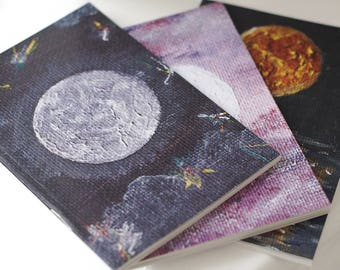 Recycled Paper Notebooks Set of 3, Moon Notebooks, Blank Notebook, A6 Notebook, Moon Notebook, A6 Moon Journal, Moon Art, Moon Gifts, Luna