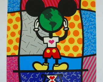 ROMERO BRITTO - 'Mickey's world' - rare hand signed/numbered artist's proof - c1994 (Mexican 1963-. Pop art. Andy Warhol interest))