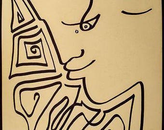JEAN COCTEAU - original pen & ink drawing - c1958 - Important 20th Century French artist (Picasso, Matisse, Dali interest)