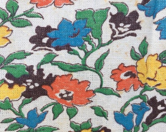 Vintage cotton feed sack, flour sack, opened. Five color print, floral