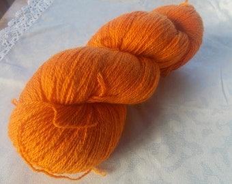 Orange knitting yarn. Pure wool yarn for crochet, machine knitting. Fine sports weight, suitable for weaving!