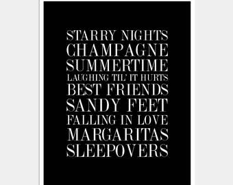 List of Favorite Things Print - Wall Decor Print - Black and White Typography Print