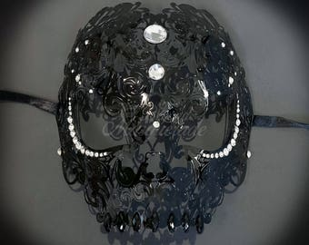 Day of the Dead Masquerade Mask - Exquisite Skull Head Laser Cut Masquerade Mask - Metal Mask by 4everstore (4 colors gems available)
