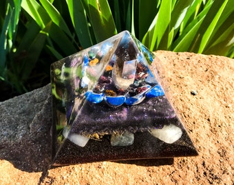 Shungite Orgone Pyramid ~ Violet Flame Orgone EMF Protection Pyramid ~ Feng Shui Crystals