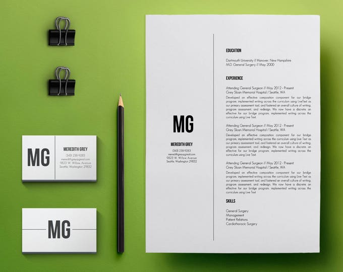 Featured listing image: Resume Template & Cover Letter Template, CV Template w/Business Card Template - Modern Resume w Skills Word Document Template A4, US Letter
