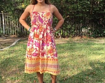Cotton summer dress, beaded dress, XL, pale yellow, lavender, Orange
