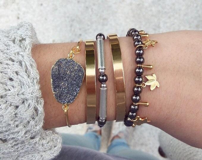 Boho Layered Bracelets /  Bangle Bracelets / Silver and Gold Plated Bangle / Handmade Bangle Stacked Bracelets